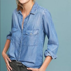 Cloth & Stone chambray shirt top S Anthropologie